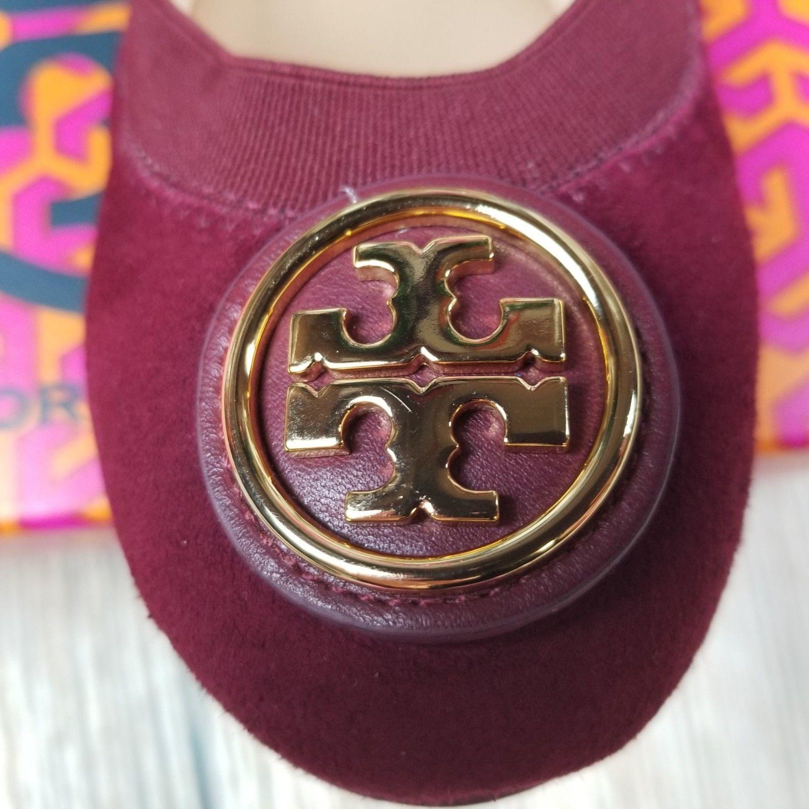 New TORY BURCH sz 6.5/7/7.5 dark red suede gold tone logo slip on flats $225