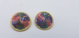 Vintage Gold Tone Multi Color Hand Painted Swirl Pattern Pierced Earring... - $15.44