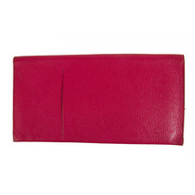 Hermes Fuchsia Long Leather Envelope Wallet Letter Ticket Travel Passport Holder - $272.25