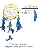 Premium Handmade Dream Catcher - Blue and yellow Feather Dreamcatcher Indian Tra - $21.07
