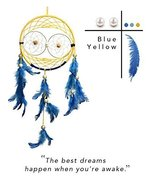 Premium Handmade Dream Catcher - Blue and yellow Feather Dreamcatcher In... - $21.07
