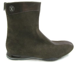 NEW Cole Haan Brown Suede Ankle Boots 10 B Leather Trim Flat Shoe - $77.17
