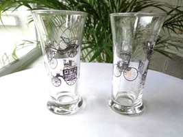 Set of 2 Libbey 1950's Horseless Carriage Liquor Glasses Black/Gold - $9.90