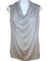 Fenn Wright Manson cowl neck top sz M heather gray jersey faux leather i... - $16.00