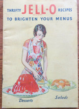 Vintage 1931 THRIFTY JELL-O RECIPES TO BRIGHTEN YOUR MENUS ~ Art Deco Gr... - $4.00
