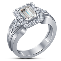 1.32ct Lab-Created Emerald Cut White Diamond 925 Sterling Silver Engagem... - $74.99