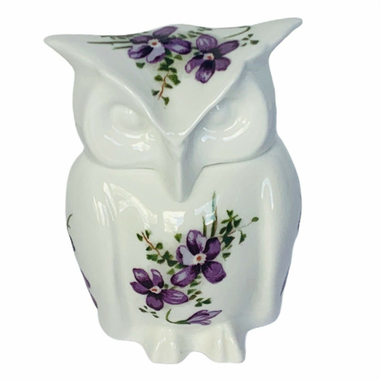 Primary image for Owl figurine vtg sculpture Hammersley England Victorian violets floral box lid