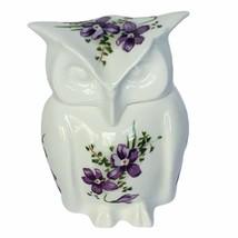 Owl figurine vtg sculpture Hammersley England Victorian violets floral b... - $39.55
