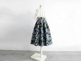 Pink Rose Flower Midi Skirt Plus Size Elegant A-line Pleated Midi Party Skirt image 10