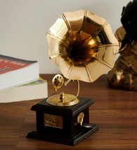 Wooden Brass Antique Gramophone Showpiece for Gifting w/ Fast Free Shipp... - $39.00