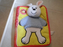 Baby Blessings cloth book,plush rabbit on front w rattle,colorful - $3.78