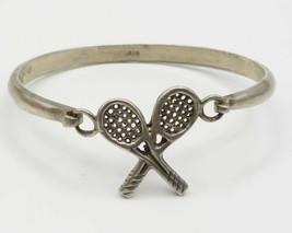 925 Sterling Silver - Vintage Tennis Racket Detail Hook & Eye Bracelet -... - £46.38 GBP