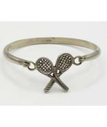 925 Sterling Silver - Vintage Tennis Racket Detail Hook & Eye Bracelet -... - $63.26