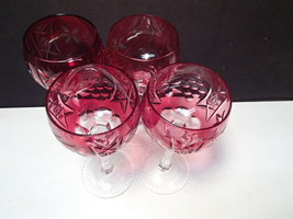 "4 NACHTMANN BLUSH PINK ROSE COLOR CUT TO CLEAR WINE GOBLETS ~ 7 5/8""  - $100.00"