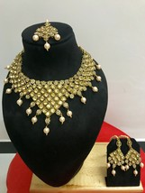 New Indian Bollywood Bridal Fashion Jewelry Pearl Gold Plated Necklace Set - $29.69