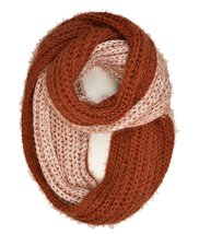 Le Nom Two-Color Fuzzy Knitted Infinity Scarf (Rust) - $12.86
