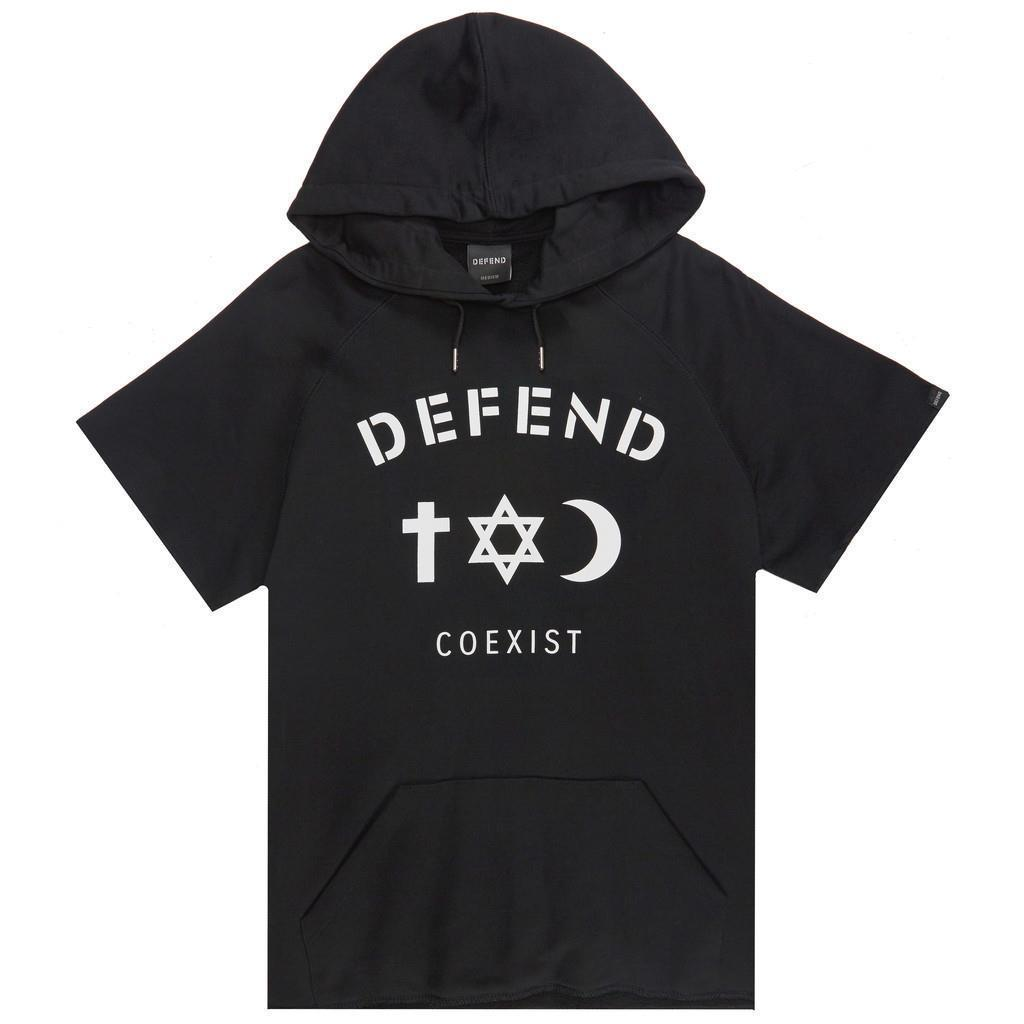 NEW DEFEND PARIS MEN'S PREMIUM CUT OFF HOODIE SWEATSHIRT JACKET BLACK SS1514
