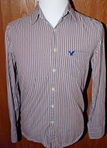 American Eagle Mens Shirt XS Beige Blue Stripe Button Down Long Sleeve C... - $20.79