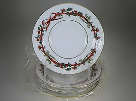 Royal Worcester Holly Ribbons Tea Saucers Set of 4 NEW (MADE IN INDIA) - $23.33
