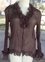 Brown Ruffle Silk Blend PRETTY ANGEL Front Button Sheer Crinkle Blouse Sz. L  - $43.55
