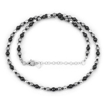 Natural Hematite Smooth & Faceted Bead Chain Necklace, 925 Sterling Silv... - $30.99