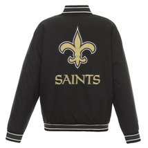 NFL New Orleans Saints Poly Twill Jacket Black  With Two Patch Logos  JH Design - $129.99