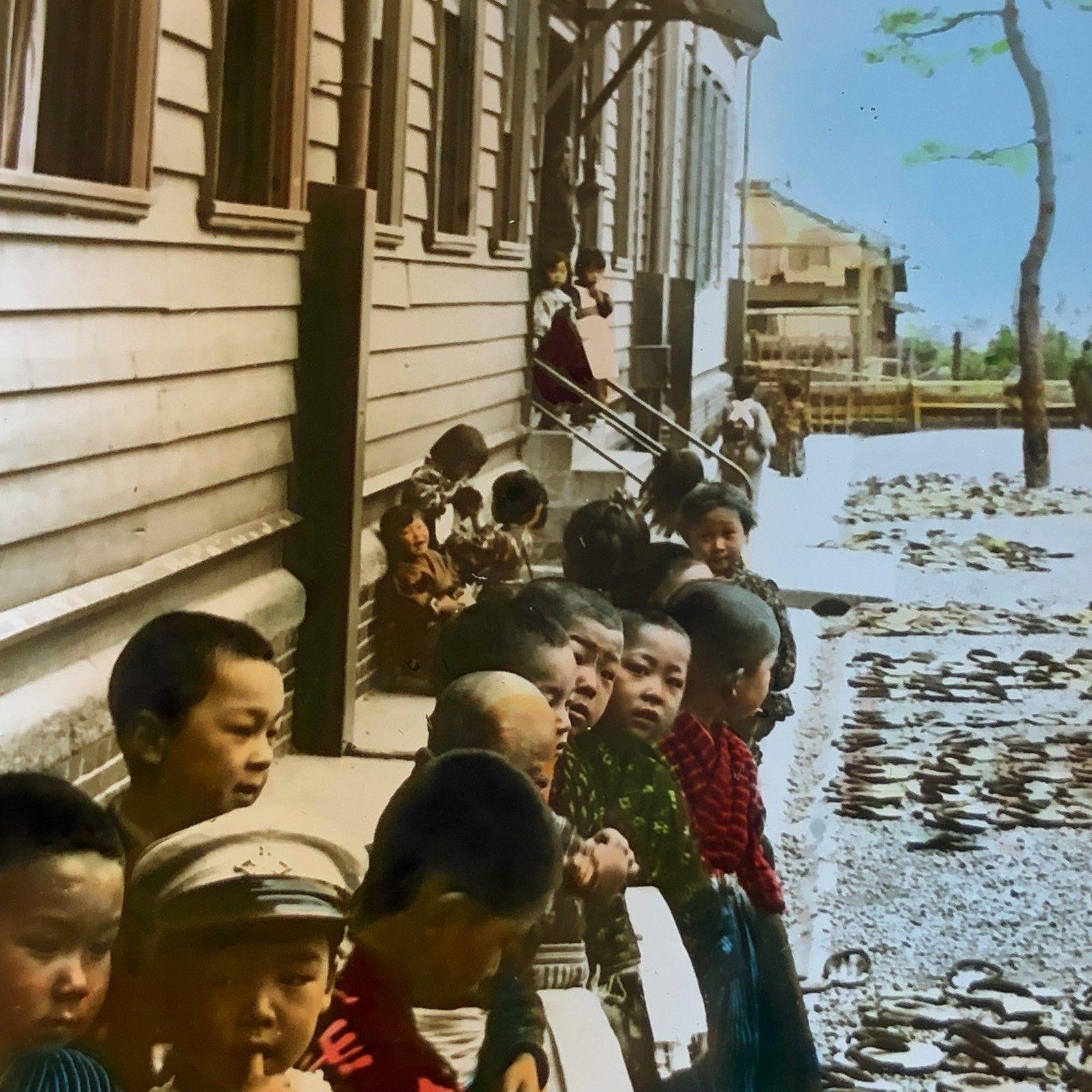Vtg Magic Lantern Glass Slide Color Photo Keystone Japanese School Children Shoe