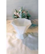 Vintage White Milk glass pedestal fruit dish, Opaque glass - $12.00