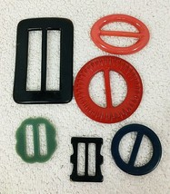 Lot of 6 Fun Vintage Plastic Assorted Ribbon Slides Belt Buckles CUTE - $24.26