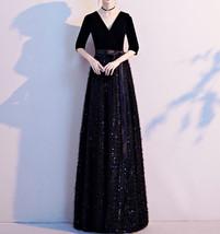 Women Half Sleeve Velvet Maxi Dress High Waist Formal Dress, Black, Plus Size image 4