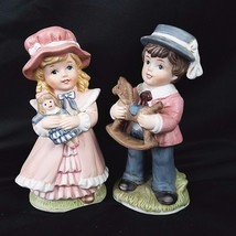 HOMCO Figurines 1419 Victorian Boy With Rocking Horse And Girl With Doll - $21.77