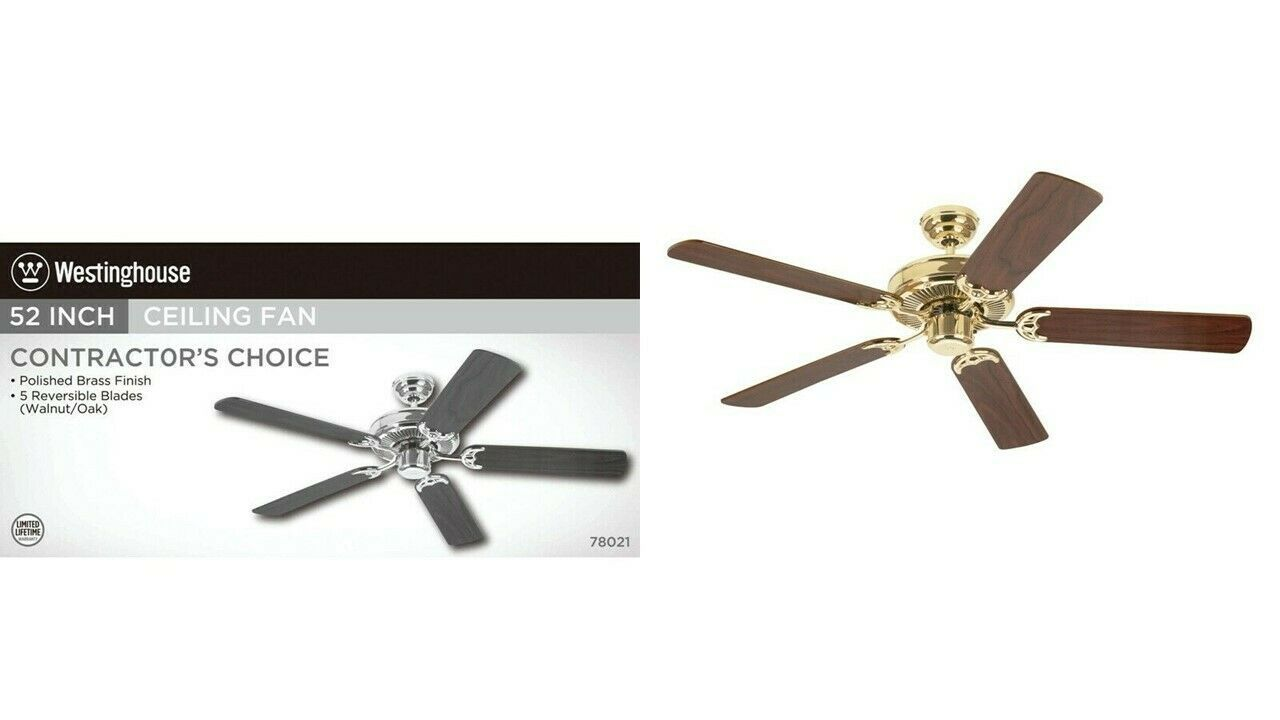 Westinghouse Lighting 78021 52'' Contractor's Choice Ceiling Fan, Polished Brass - $88.11