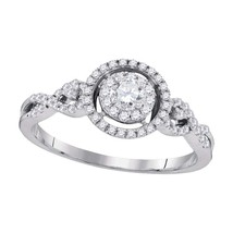 10kt White Gold Round Diamond Solitaire Bridal Wedding Engagement Ring 3/8 Ctw - $533.17