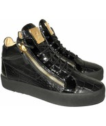 Giuzeppe Zanotti High Top May London Double Zip Black Leather Sneakers S... - $329.00