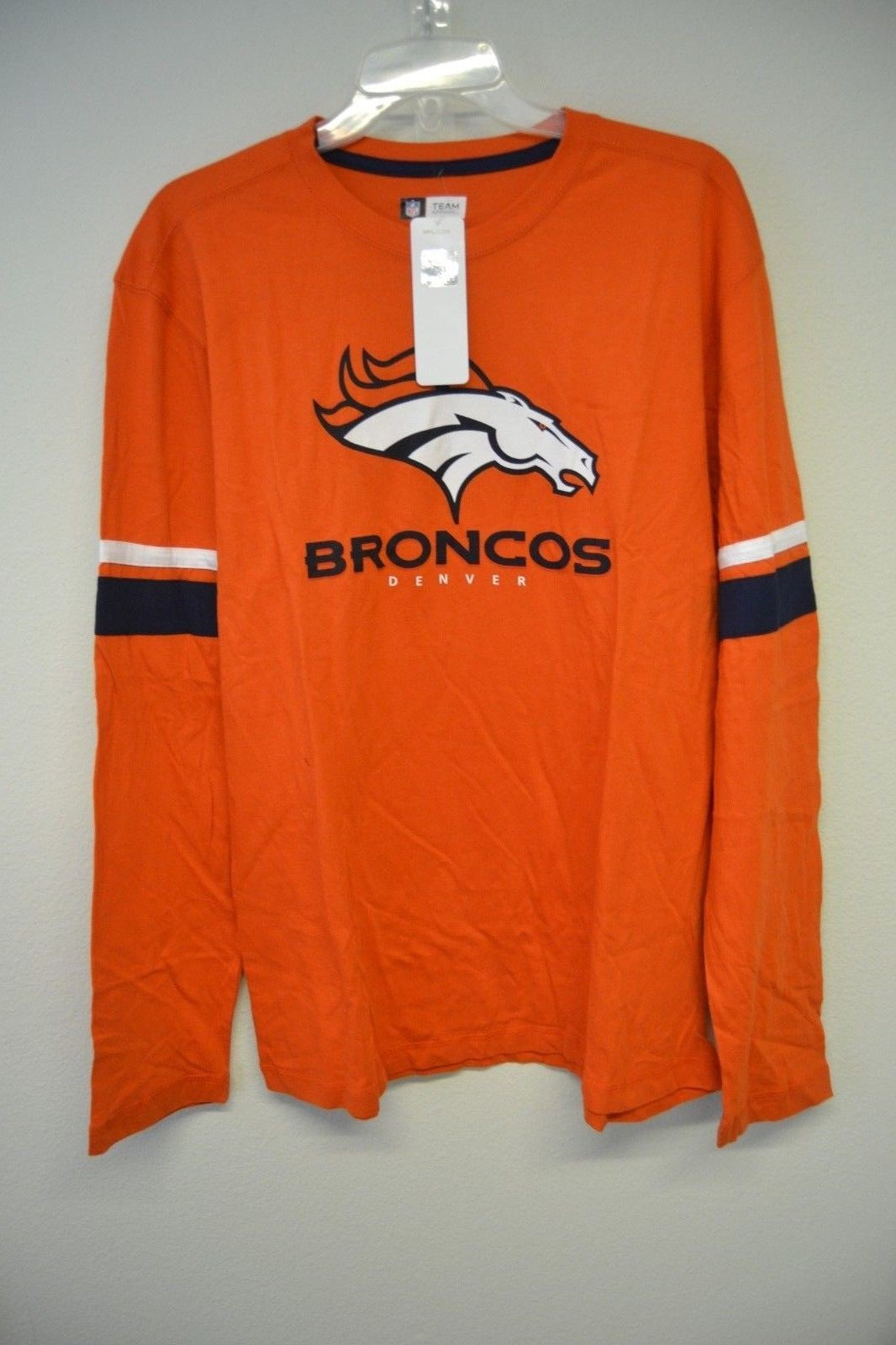 NFL Team Apparel Denver Broncos Orange Long Sleeve Graphic T-Shirt Sz L NWT