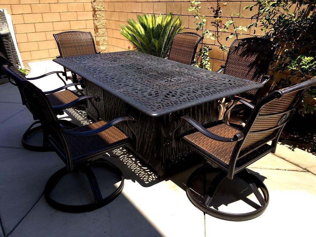 Fire pit dining propane table set 7 piece outdoor cast aluminum patio furniture