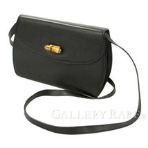 GUCCI Bamboo Shoulder Bag Leather Black 004 46 0474 Italy Authentic 5334155 - $555.57