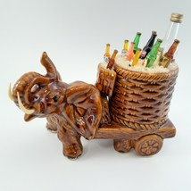 Brown Elephant with Cart of Drinks on Ice Rare image 1