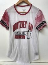Monterey Bay Aquarium Womens T Shirt Tee Top Blue 84 Burnout White Red S... - $12.95