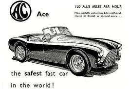 1958 AC Ace - The Safest Fast Car - Promotional Advertising Poster - $9.99+