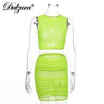 Dulzura 2019 summer women two piece set mesh crop top skirt set smoking ... - $24.90