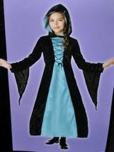 Girls Dark Empiress Black Blue Hooded Hoop Dress Halloween Costume-size 7/8 - $15.84