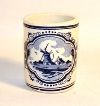 Vintage Holland Vandermint Blue Hand Painted Shot Glass Windmill - $4.46