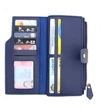 SEEFOUN Leather Trifold Capacity Wallet for Women ID Window and 19 Slots Card Ho