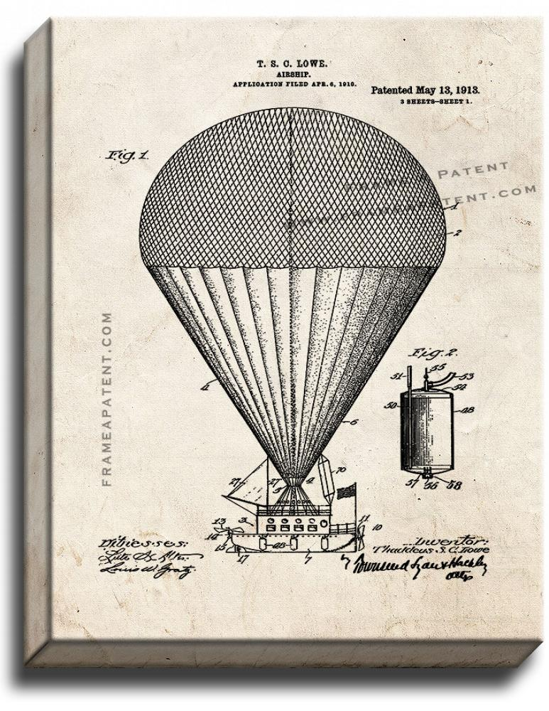 Primary image for Airship Patent Print Old Look on Canvas