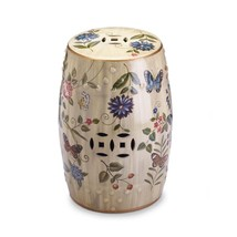 Butterfly Glazed Ceramic Outdoor Stool, Floral Decorative Cream Ceramic Stool - $106.19