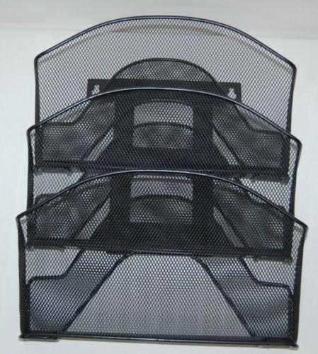 Safco 5652BL Triple Metal Mesh Pocket Letter Size Onyx Black