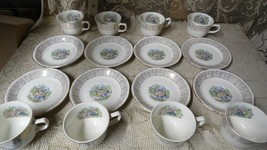 Vtg Homer Laughlin Colonial Rose Courting Couple 22KT Gold TEACUPS/SAUCERS 16 Pc - $29.65