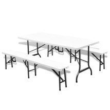 Picnic Garden Dining Set Folding Table Benches Outdoor Patio Durable Plastic image 1