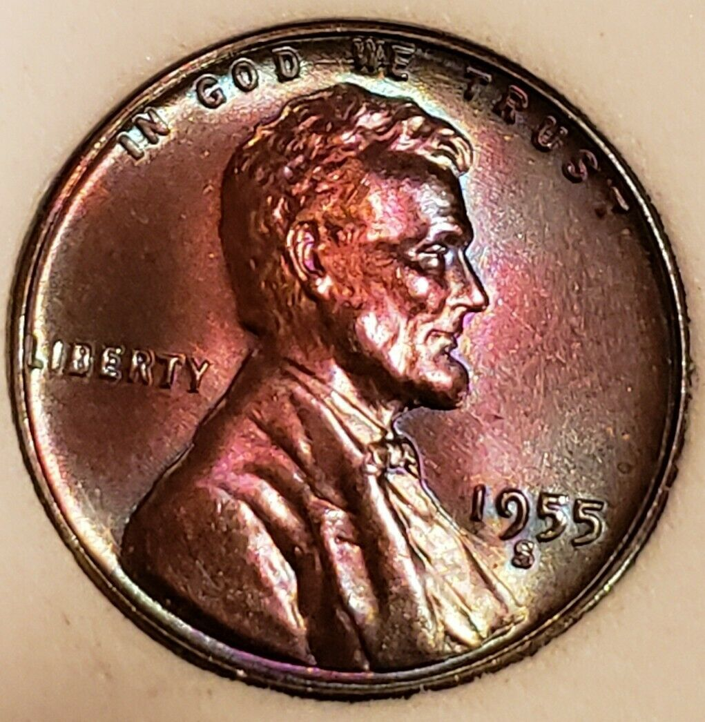 1955 S  GEM  LINCOLN WHEAT CENT /TONED  *  733